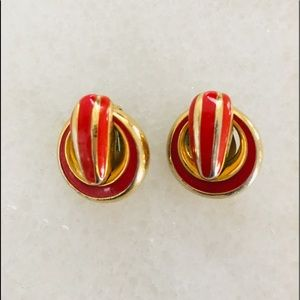 Vintage Givenchy Red/ Gold Tone Clip on earrings